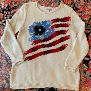 Coldwater Creek flower flag cotton sweater size L